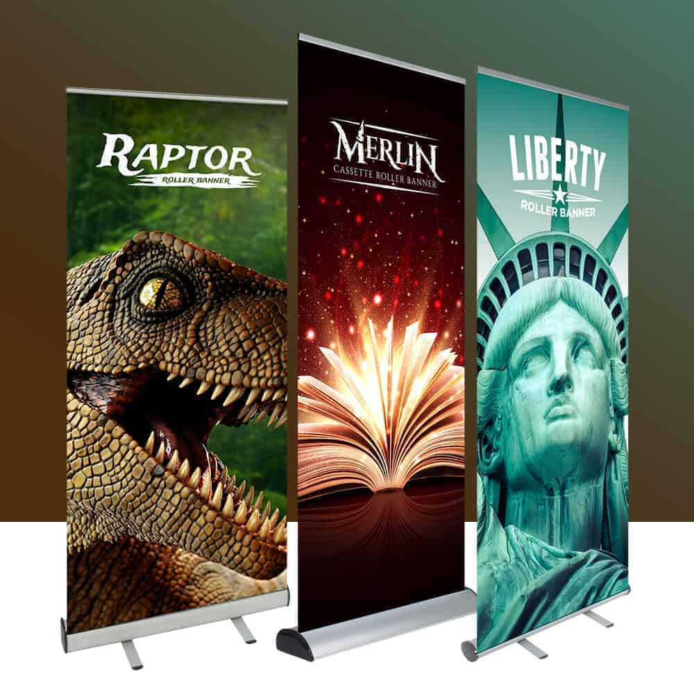 Roller Banner Stands various sizes available from Fantasy Prints