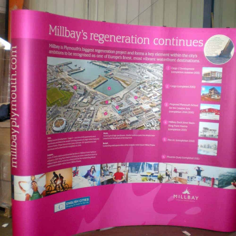 pop up curved exhibition display detail 07 millbay regeneration | Fantasy Prints
