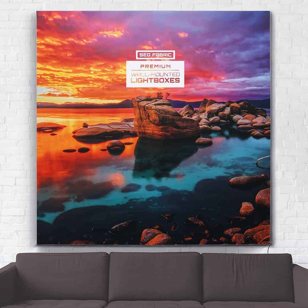 seg fabric wall mounted lightboxes premium hero lights off | Fantasy Prints