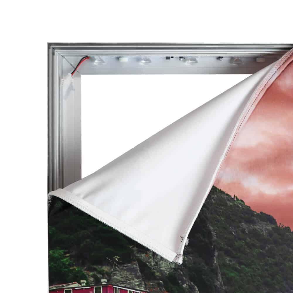 seg fabric wall mounted lightboxes standard detail corner peeled | Fantasy Prints