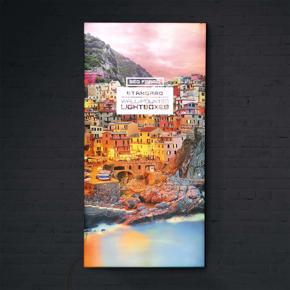 seg fabric wall mounted lightboxes standard hero lights on | Fantasy Prints