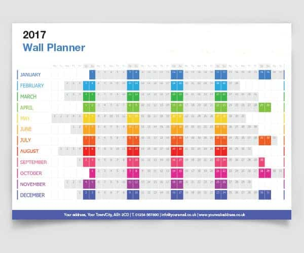 2021 Wall Planners Personalised Printed