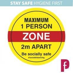 Maximum One Person Zone Floor Stickers