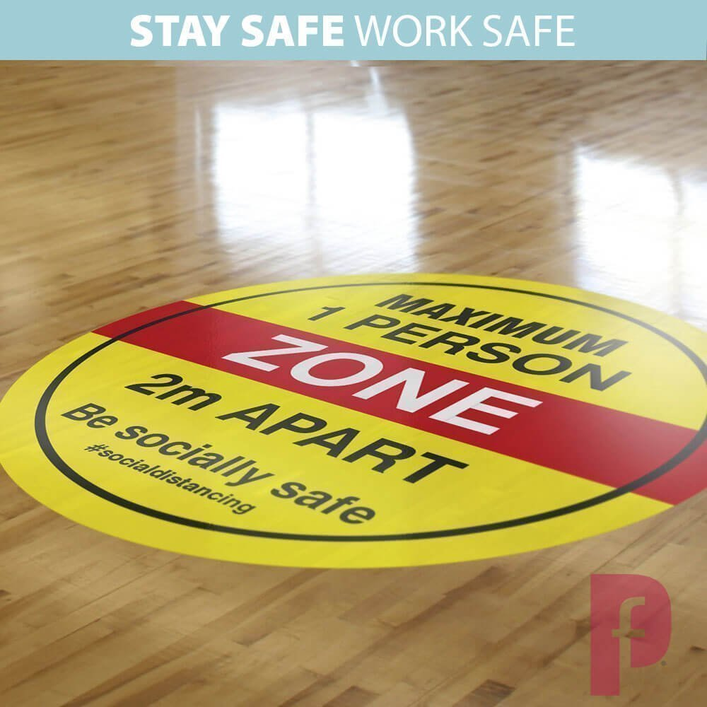 Maximum One Person Zone Floor Stickers