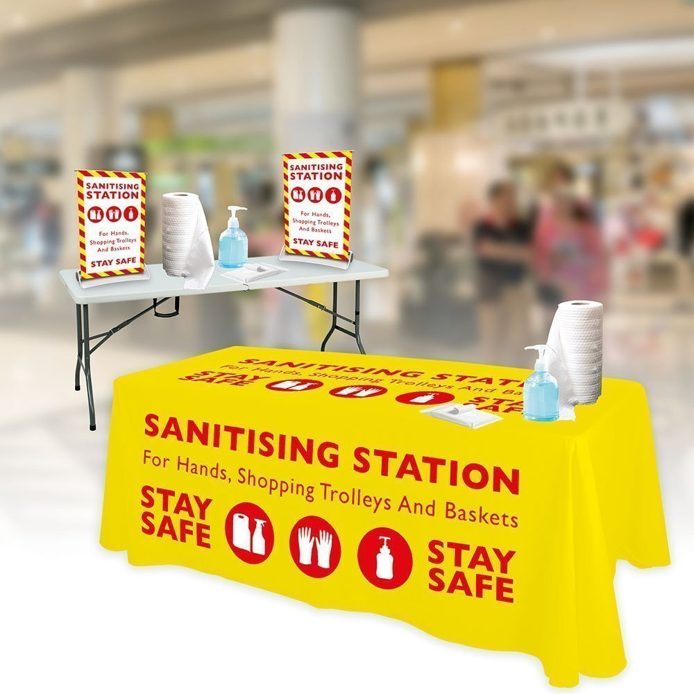 Portable Sanitising Station with foldable table and printed tablecloth