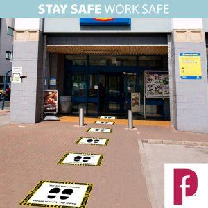 Social Distancing Outdoors Floor Stickers