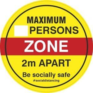 Maximum Persons Zone Floor Stickers