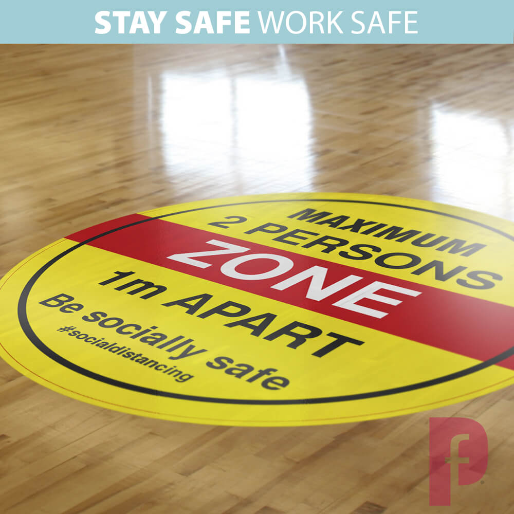 Maximum Two Persons Zone Floor Stickers 2