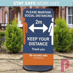 Social Distancing Pavement Sign Ecoflex 2