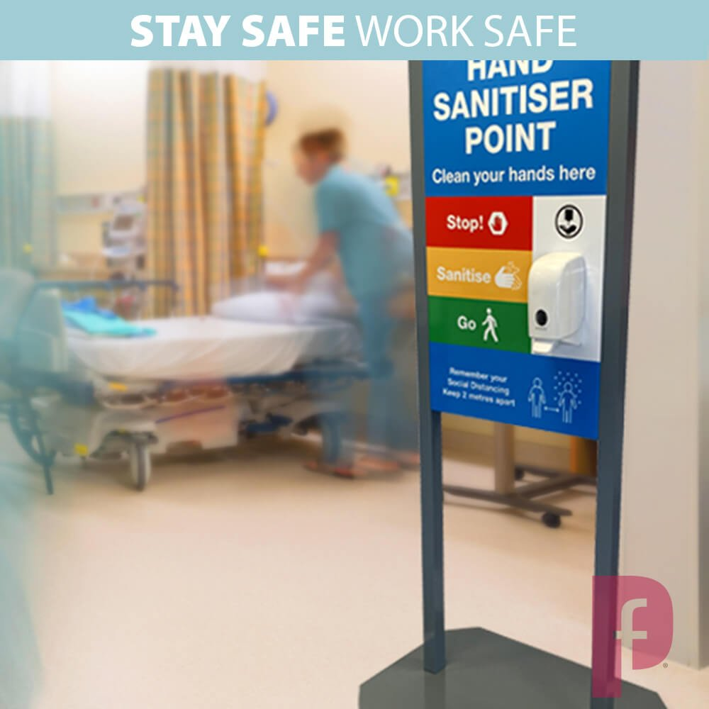 Freestanding Sanitiser Station with A1 Graphic