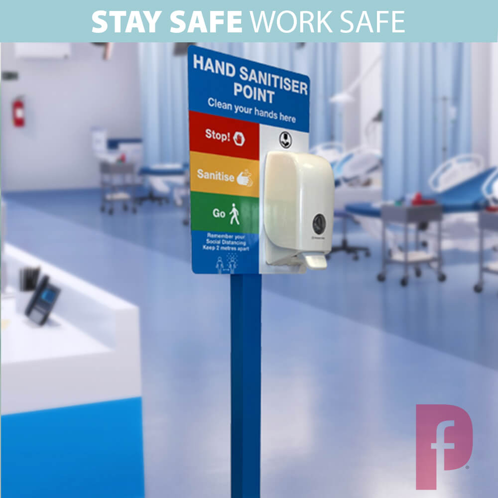 Freestanding Sanitiser Station with A3 Graphic
