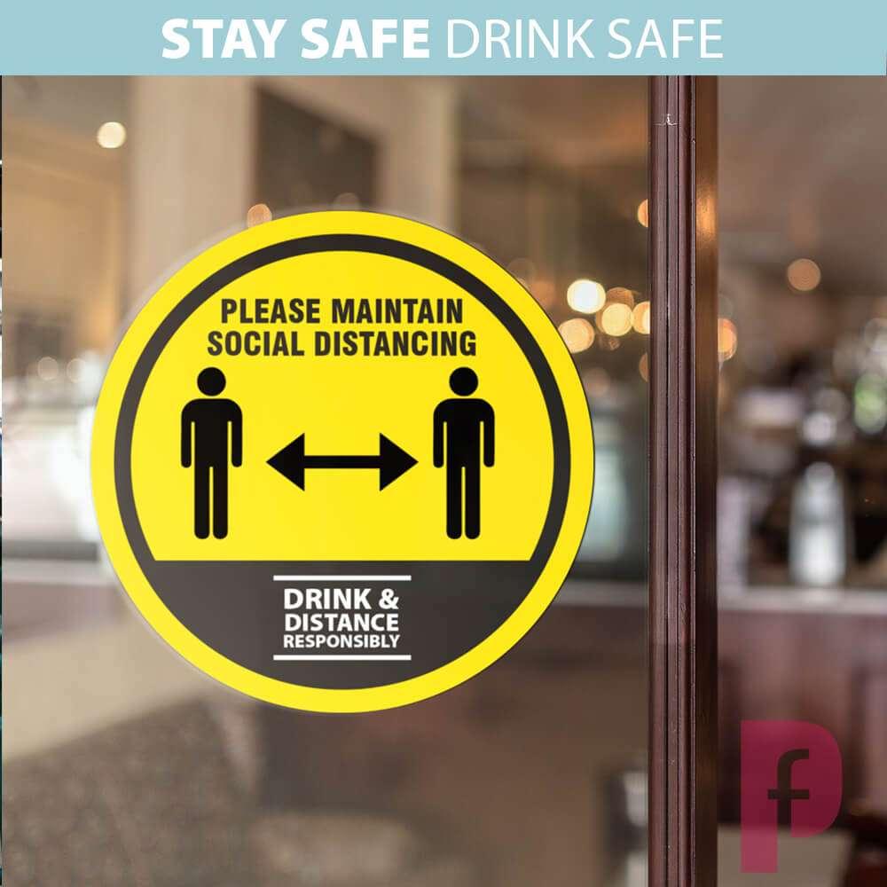 Pub Social Distancing Window Stickers