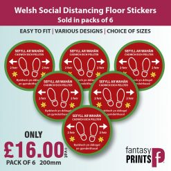 welsh social distancing floor stickers
