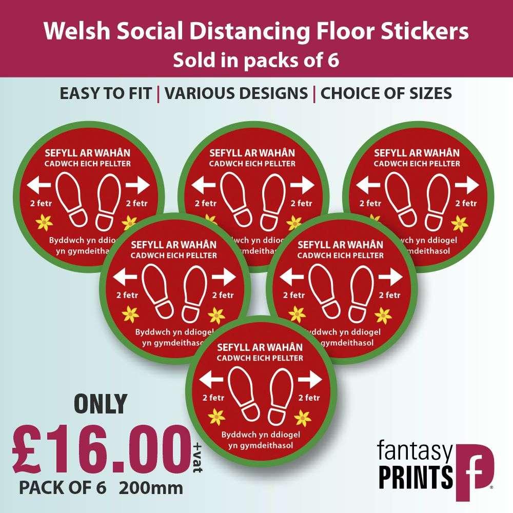 welsh social distancing floor stickers