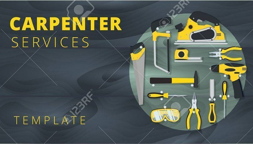 Carpenter or repairman service vector business card design. Wood