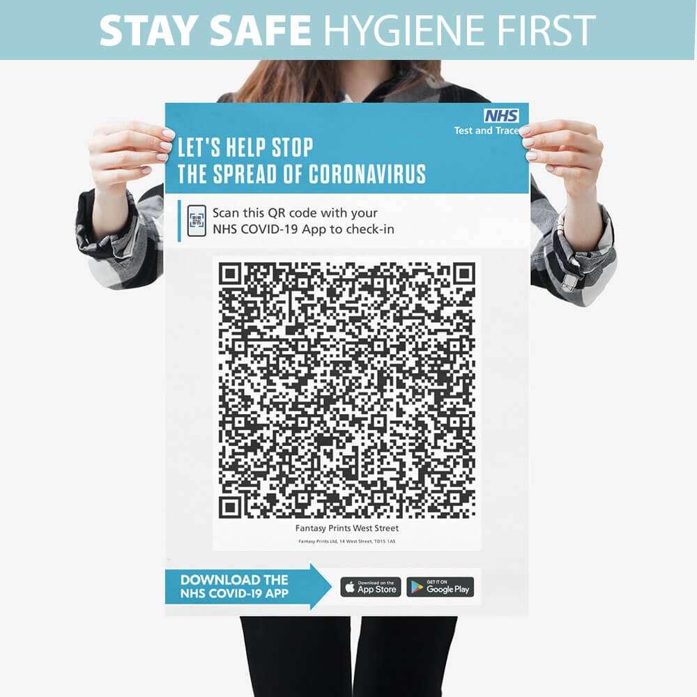 NHS COVID QR Code Signs PVC Foamex Washable Boards