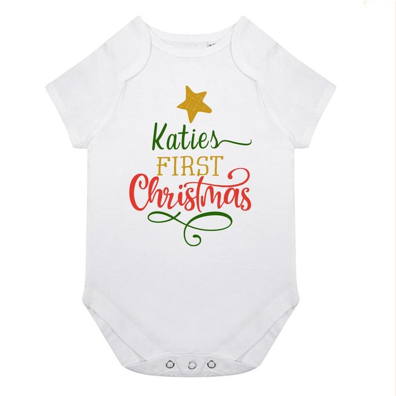 Personalised Babies First Christmas Vest CHRISTMAS TREE2 | Fantasy Prints