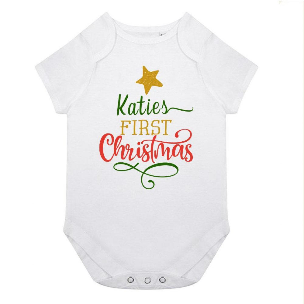 Personalised Babies First Christmas Vest - Organic Cotton