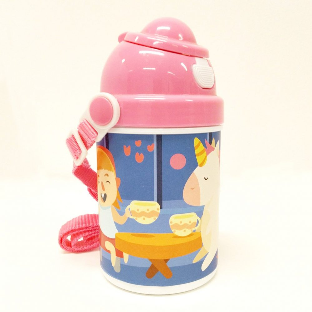 Personalised Printed Childs Plastic Drinks Bottle PINK2 | Fantasy Prints
