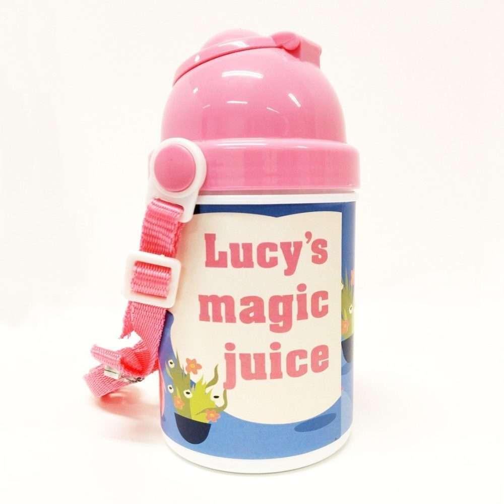 Personalised Printed Childs Plastic Drinks Bottle Pink | Fantasy Prints